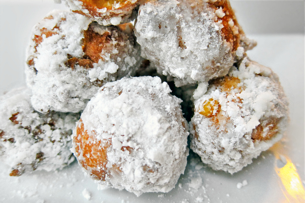 powdered fritter stack