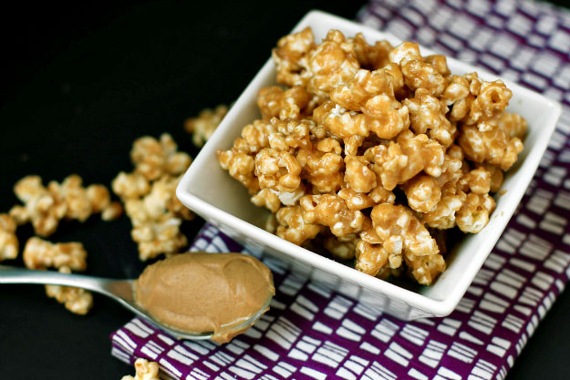 gluten free, vegan snack homemade sweet and salty peanut butter, sea salt, agave popcorn
