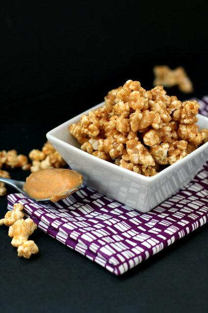 Healthy gluten free, vegan peanut butter agave popcorn