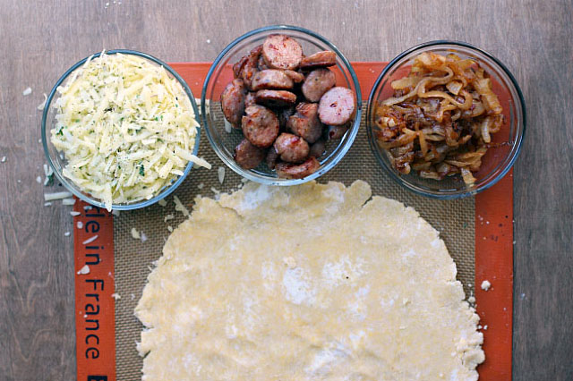 sausage and onion galette